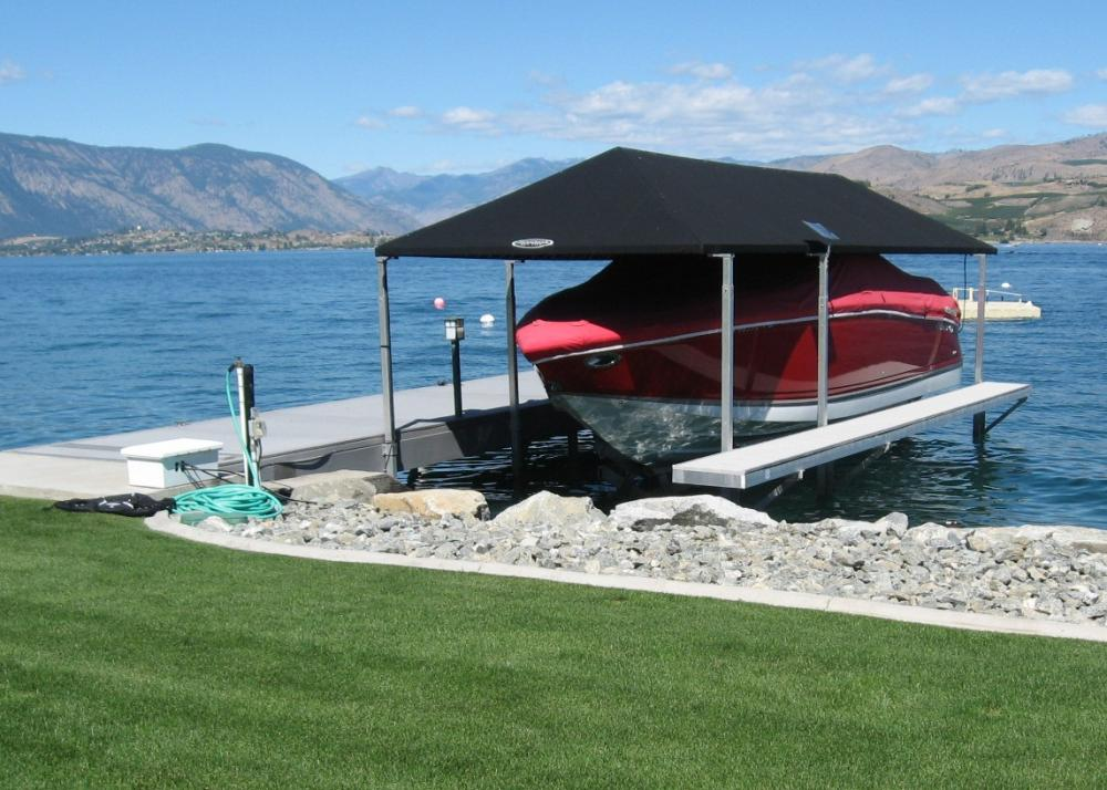 Private dock and boatlift on Lake Chelan, Chelan County, Washington