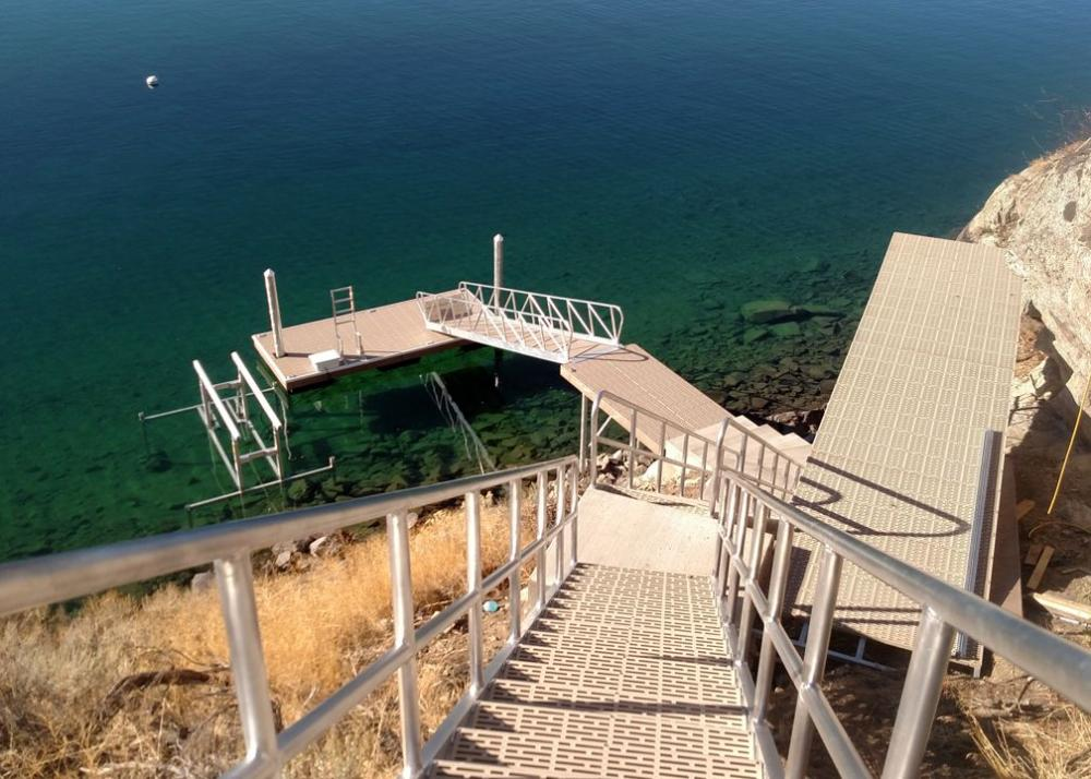 Lake Chelan dock, boat lift, and shoreline-access stairway